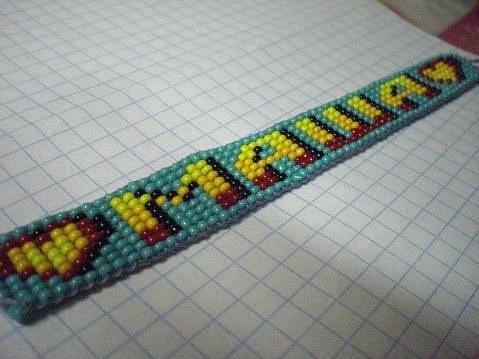 Как сделать браслет с именем из бисера фото